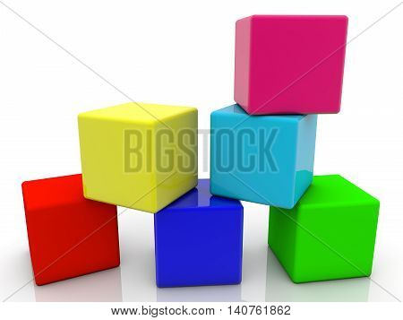 Toy cubes in six colors on white . 3D illustration