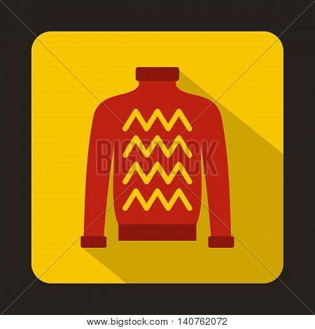 Red warm sweater icon in flat style on a yellow background