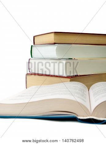 Book isolated on white background. vertical photo.