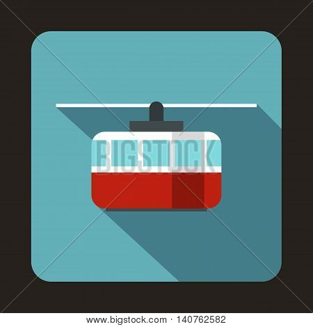 Ski lift icon in flat style on a baby blue background