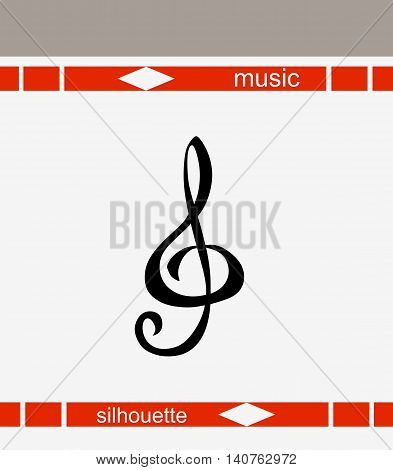 Vector logo. Treble clef. Isolated musical illustration.