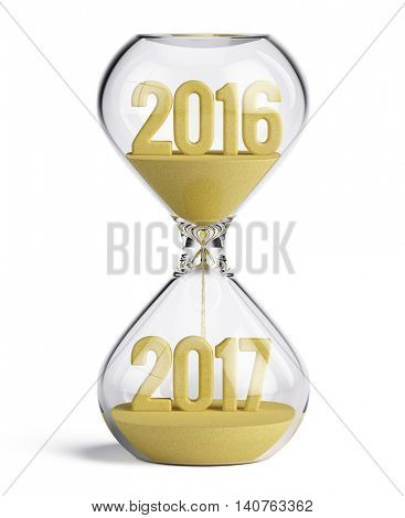 Hourglass with 2016 and 2017 sand shapes - New Year 2017 concept. 3d illustration