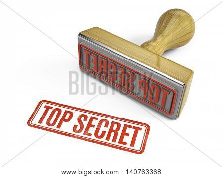 Rubber stamp with top secret text. 3d illustration