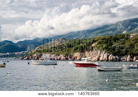 Naves in Bay Milocer regionis Мontenegro,Adriatic sea