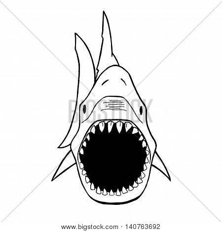 Vector illustration of shark silhouette. Vector shark top view.