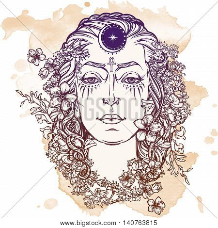 White Goddess. Universal deiety in most of the pagan religions worldwide. Symbol of the female element in nature. Hand drawn artwork. Grunge background. EPS10 Isolated vector illustration.
