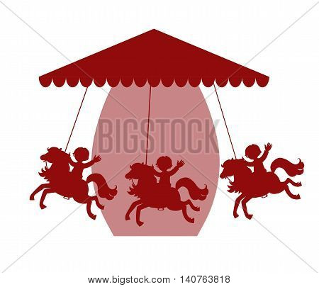 Carousel with horses. Silhouette. Childish vector illustration.