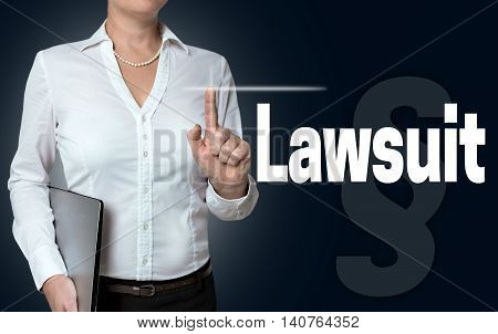 Lawsuit touchscreen is operated by businesswoman background