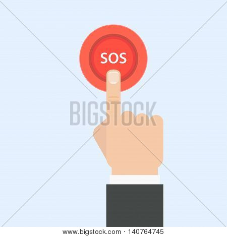 SOS button with hand vector illustration in flat style. Female finger presses the red button SOS. The concept of a request call for help.