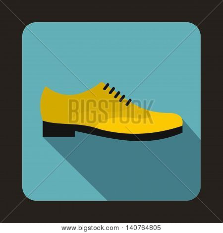 Male yellow shoe icon in flat style on a baby blue background