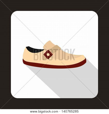 White shoe with red sole icon in flat style on a baby whute background
