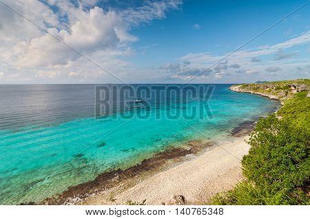 A landmark location on Bonaire for snorkeling Dutch Caribbean Island.