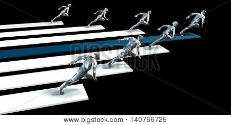 Business Leader or Leadership Concept with Team Racing 3D Illustration Render