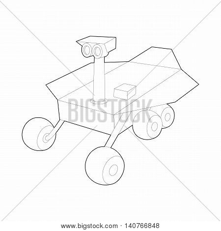 Mars exploration rover icon in outline style on a white background