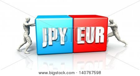 JPY EUR Currency Pair Fighting in Blue Red and White Background 3D Illustration Render