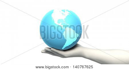Businessman Working With Global Technology as Concept 3D Illustration Render