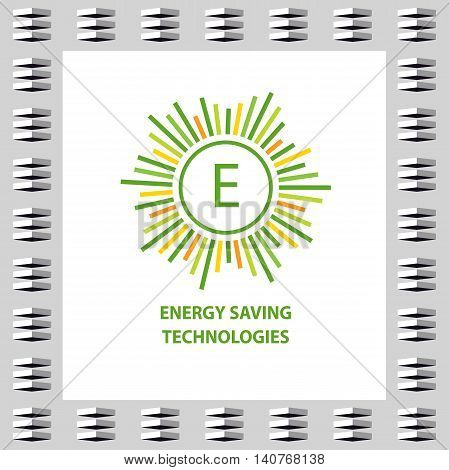 Vector Logo With Letter E. Logotype With Concept Symbols Of Natural Eco Resources And Energy. Saving