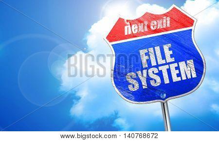 file system, 3D rendering, blue street sign