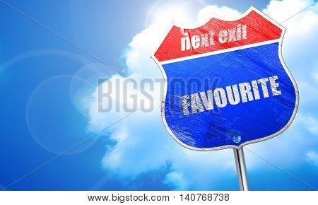 favourite, 3D rendering, blue street sign