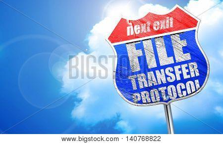 file transfer protocol, 3D rendering, blue street sign