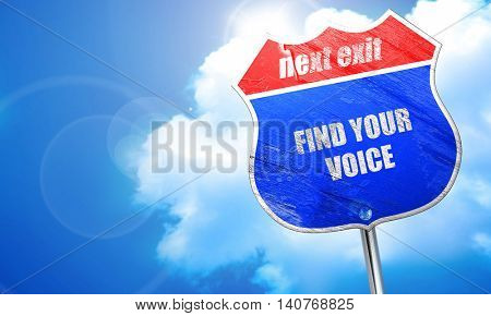 find your voice, 3D rendering, blue street sign