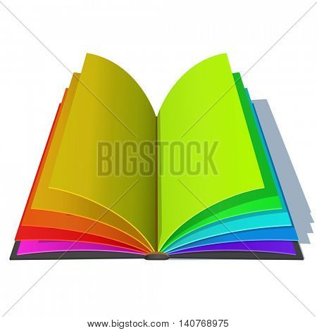 Opened book with colorful rainbow pages isolated on white background. Joyful education concept vector illustration.