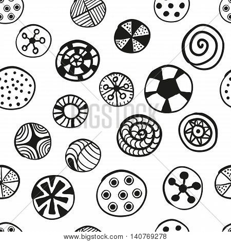 Hand drawn abstract black and white pattern