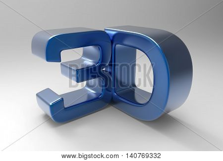 sign blue 3D text isolated white background..3D illustration