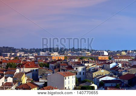 overview of the old town in antibes france during sunset