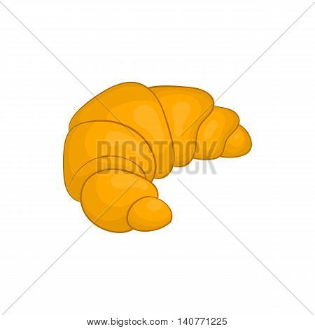 Fresh croissant icon in cartoon style isolated on white background