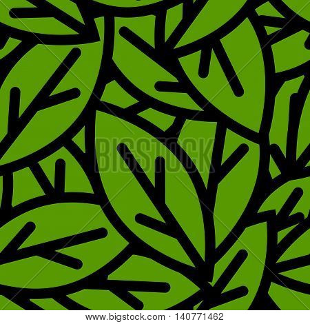 Seamless foliage pattern. Vector green leaves pattern
