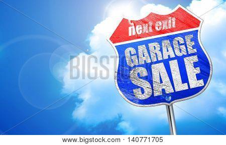 garage sale, 3D rendering, blue street sign