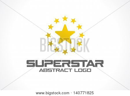 Abstract logo for business company. Corporate identity design element. Social Media, award, talent logotype idea. Gold superstar whith star group around, yellow polygon concept. Colorful Vector icon
