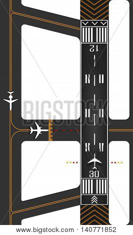 Airplane runway with exits, surface guides for taxing and queued planes waiting for takeoff clearance