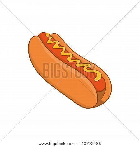 Hot dog icon in cartoon style isolated on white background