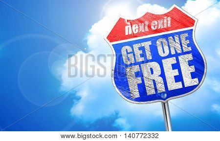 get one free, 3D rendering, blue street sign