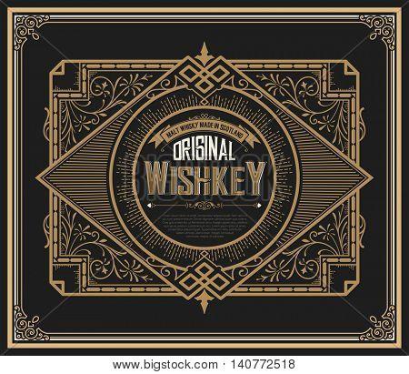 Old Whiskey label with vintage frames