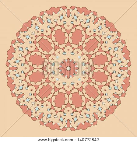 Round Decorative Pattern. Lace Circle Design Template.