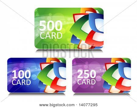 set of bonus and gift cards with glowing background