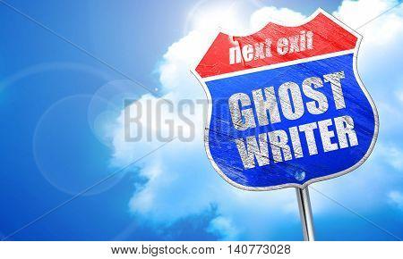 ghost writer, 3D rendering, blue street sign