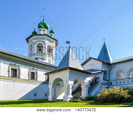 Architecture landscape - belfry and porch in Nicholas Vyazhischsky stauropegic monastery Veliky Novgorod Russia Orthodox temple architecture Russian architecture ensemble