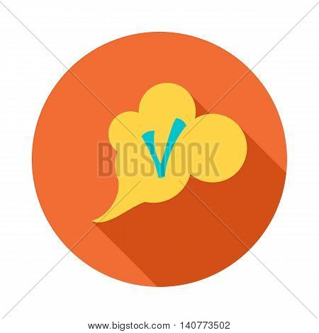 Checkmark in cloud icon in flat style with long shadow. Click and choice symbol