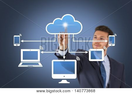 Businessman Touching Cloud Computing Concept on Screen Businessman Working Conceptual