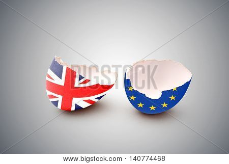 Cracked egg painted with the flag of the European Community and the United Kingdom