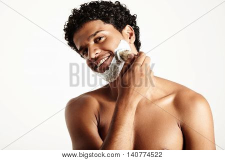 Man With A Brush And Shaving Foam