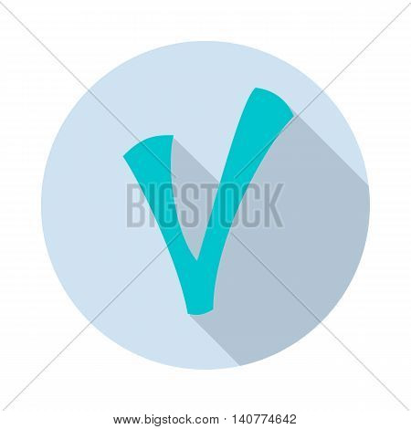 Checkmark icon in flat style with long shadow. Click and choice symbol