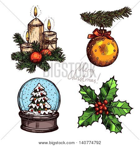 Christmas Color Set With Holiday Objects. Snowglobe, Holly, Christmas Ball And Candles