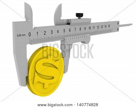 Measurement of profit. Caliper measures the golden coin with the symbol of the American dollar. Financial concept. Isolated. 3D Illustration