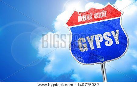 gypsy, 3D rendering, blue street sign