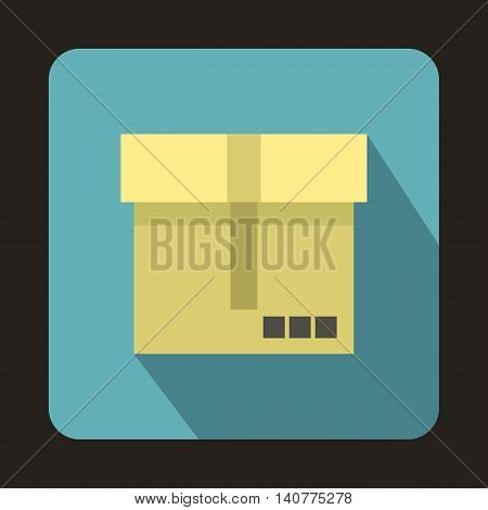 Box icon in flat style with long shadow. Packaging symbol